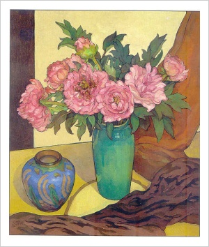 Peonies with a Blue Vase Criss Canning